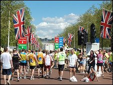 The Mall - the final leg of the London  Marathon.