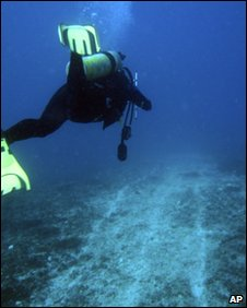 A diver inspects damage on the Great Barrier Reef (14 April 2010)