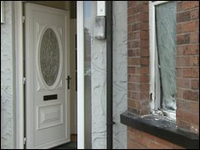 A door was smashed and a window was broken in the attack