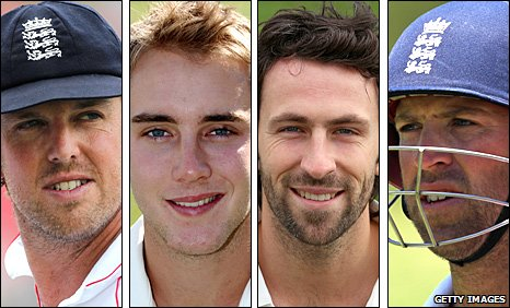 Graeme Swann, Stuart Broad, Graham Onions and Matt Prior