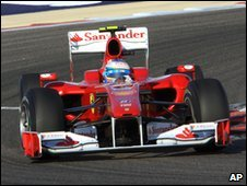 Fernando Alonso's Ferrari car in Bahrain