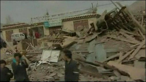 Image from Chinese TV of earthquake damage