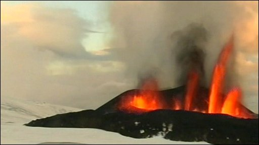 Volcanic eruption at the Eyjafjallajokull glacier