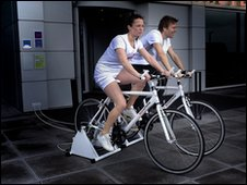 15 minutes of cycling generates a free meal at the hotel