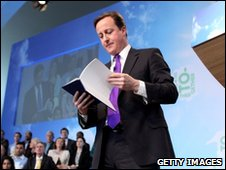David Cameron launching the Tory manifesto