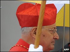 "Cardinal Angelo Sodano during the celebration of Easter mass lead by Pope Benedict XVI on April 4, 2010 at St Peter""s square at the Vatican"