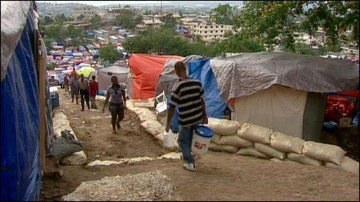 Homeless camp in Haiti