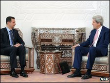 Bashar Assad and John Kerry in Damascas, 1 April 2010