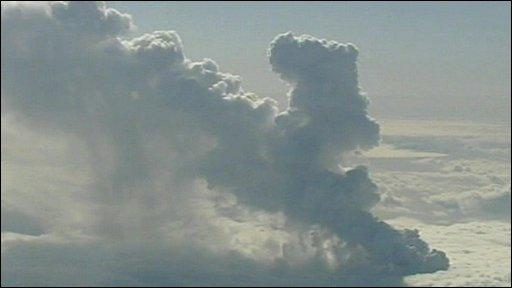 Plume of smoke and ash