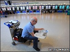 An empty checkout desk at Belfast International airport