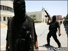 Masked Palestinian members of the military wing of Hamas in June 2007