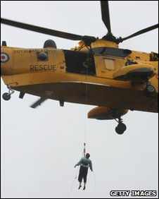 An RAF sea king in operation at Cockermouth during November 2009 floods