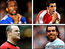 clockwise from top left: Didier Drogba, Cesc Fabregas, Wayne Rooney, Carlos Tevez