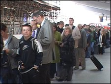 Queue at Southampton Airport