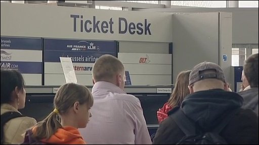 Ticket desk at Bristol Airport