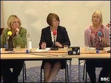 Lorely Burt, left, Jacqui Smith and Margot James