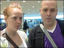 Honeymooners Tracey and John Clarke whose flight was cancelled at Birmingham Airport