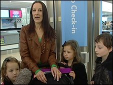 Rachel Lewis and her family waiting at Birmingham Airport to go on holiday to Egypt