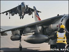 GR9 Harrier jets on HMS Ark Royal