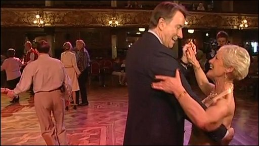 Peter Mandelson takes to the dance floor in Blackpool