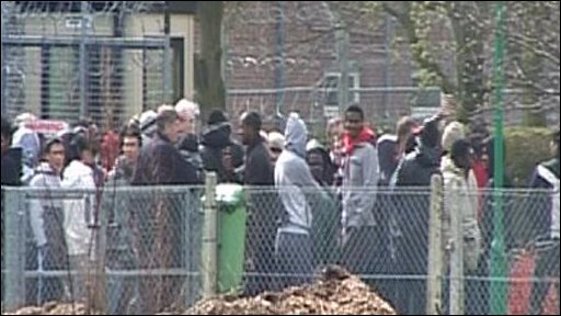 Detainees at Oakington immigration centre