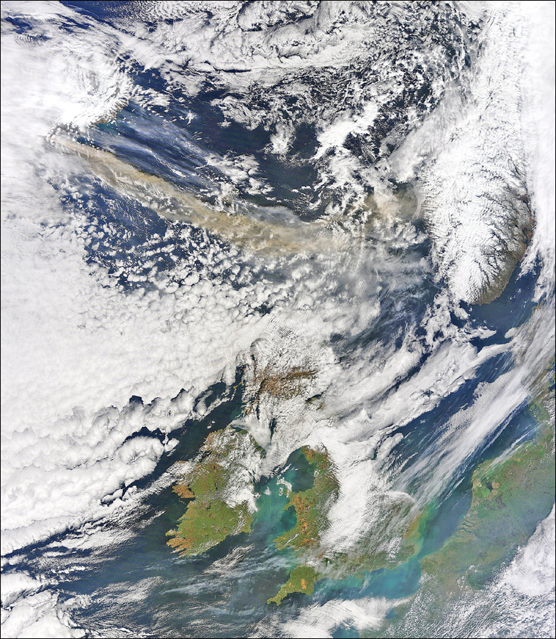 "the volcanic ash plume from Iceland, top left, to the north of Britain at received by NASA""s Terra Satellite"