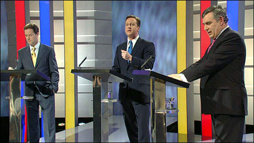 Nick Clegg, David Cameron and Gordon Brown in TV Prime ministerial debate