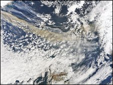Satellite image of the ash plume/Pic: NEODAAS/University of Dundee