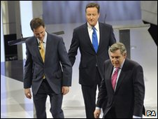 The three leaders leaving the stage following the debate