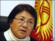 Roza Otunbayeva, pictured on 13 April 2010