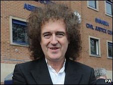 Brian May outside Swansea Civil Court