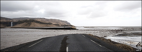 Flooded coast road near volcano, 14 Apr 10