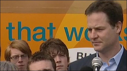 Liberal Democrat leader Nick Clegg at a campaign event in Warrington