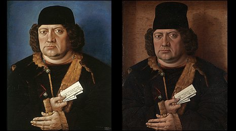 Master of Mornauer Portrait, Portrait of Alexander Mornauer, about 1464-88 pre-restoration (left), � National Gallery,