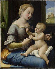 Raphael, The Madonna of the Pinks, about 1506-7, © National Gallery, London