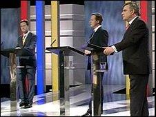 Prime ministerial debate: Nick Clegg, David Cameron and Gordon Brown
