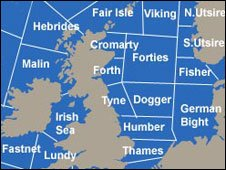 A section of the Shipping Forecast areas