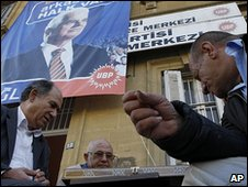Turkish Cypriots in front of a poster of Dervis Eroglu in Nicosia, 15 April 2010