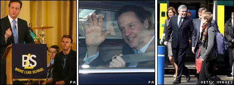 (l-r) David Cameron and Gary Barlow, Nick Clegg, Gordon Brown