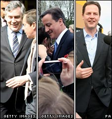 Gordon Brown, David Cameron and Nick Clegg out on the campaign trail on Friday