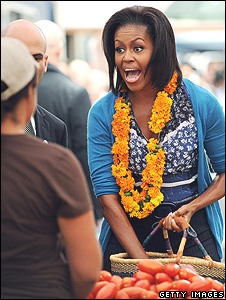 Michelle Obama at a farmers' market