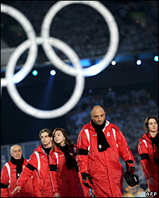 Georgian team at the Winter Olympics opening ceremony