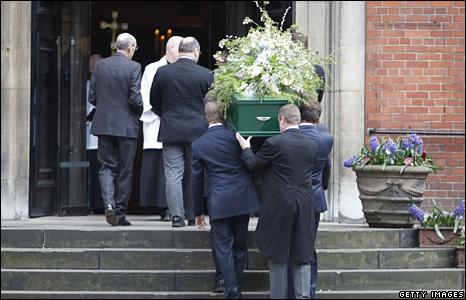 Christopher Cazenove's coffin