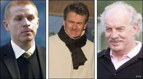 Celtic interim manager Neil Lennon, Charlie Nicholas and Dermot Desmond