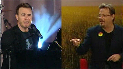 Gary Barlow and Eddie Izzard