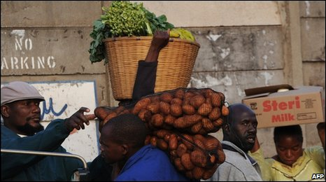 People in Harare market