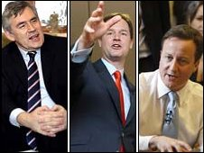 Gordon Brown, Nick Clegg and David Cameron