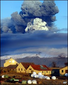 Volcano at southern Iceland's Eyjafjallajokull glacier
