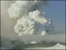 Ash plume from the Eyjafjallajoekull volcano 17 April 2010