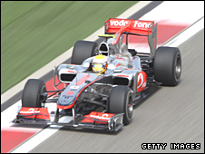 Lewis Hamilton in action in China